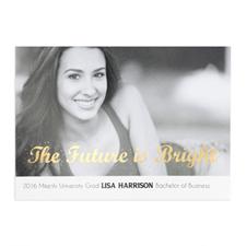 Cartes photo d'annonce de remise de diplômes personnalisées feuille d'or l'avenir est prometteur