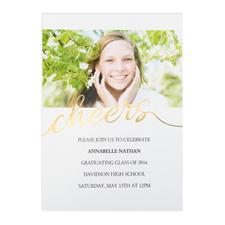Annonce photo de remise de diplômes personnalisée feuille d'or acclamations, cartes 12,7 x 17,78 cm