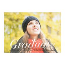 Cartes photo annonce de remise de diplômes personnalisées feuille d'argent script diplômé