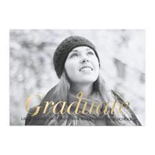 Cartes photo d'annonce de remise de diplômes personnalisées feuille d'or script diplômé