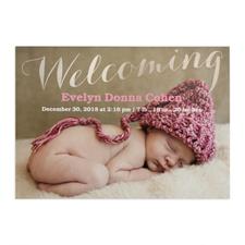 Annonce de naissance photo personnalisée bienvenue feuille argentée, cartes 12,7 x 17,78 cm