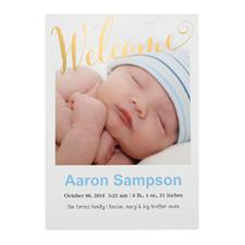 Annonce de naissance photo personnalisée bienvenue feuille d'or, cartes 12,7 x 17,78 cm