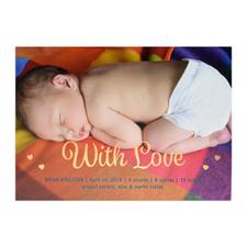 Annonce de naissance photo personnalisée avec amour feuille d'or, cartes 12,7 x 17,78 cm