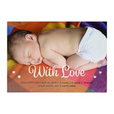 Annonce de naissance photo personnalisée avec amour feuille argentée, cartes 12,7 x 17,78 cm