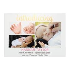 Annonce de naissance photo personnalisée feuille d'or introduisant, cartes 12,7 x 17,78 cm