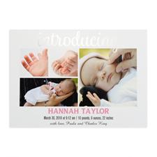 Annonce de naissance photo personnalisée feuille d'argent introduisant, cartes 12,7 x 17,78 cm