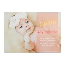 Annonce de naissance fille photo personnalisée écriture bonjour feuille d'or, cartes 12,7 x 17,78 cm