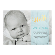 Annonce de naissance garçon photo personnalisée écriture bonjour feuille d'or, cartes 12,7 x 17,78 cm