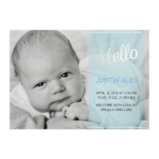 Annonce de naissance garçon photo personnalisée écriture bonjour feuille argentée, cartes 12,7 x 17,78 cm