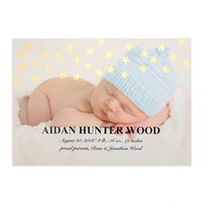 Annonce de naissance photo personnalisée étoile feuille d'or, cartes 12,7 x 17,78 cm