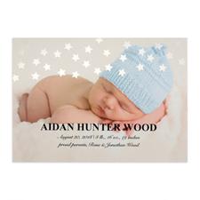 Annonce de naissance photo personnalisée étoile feuille argentée, cartes 12,7 x 17,78 cm