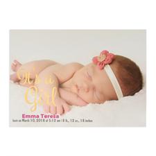 Annonce de naissance photo personnalisée feuille d'or c'est une fille, cartes 12,7 x 17,78 cm
