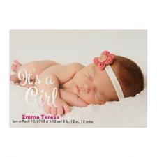 Annonce de naissance photo personnalisée feuille d'argent c'est une fille, cartes 12,7 x 17,78 cm