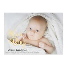 Annonce de naissance photo personnalisée feuille d'or c'est un garçon, cartes 12,7 x 17,78 cm
