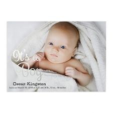 Annonce de naissance photo personnalisée feuille d'argent c'est un garçon, cartes 12,7 x 17,78 cm