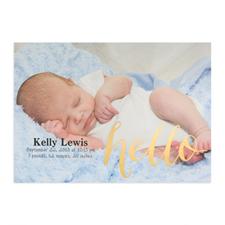 Annonce photo de naissance personnalisée feuille d'or Bonjour, cartes 12,7 x 17,78 cm