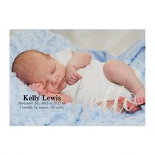Annonce photo de naissance personnalisée feuille d'argent Bonjour, cartes 12,7 x 17,78 cm