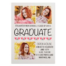 Cartes d'invitations remise de diplômes personnalisées roses aller de l'avant