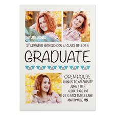 Cartes d'invitations remise de diplômes personnalisées turquoises aller de l'avant
