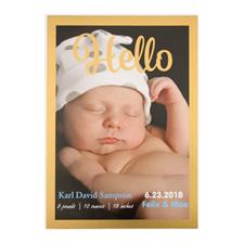 Annonce de naissance photo personnalisée Bonjour cadre feuille d'or, cartes 12,7 x 17,78 cm