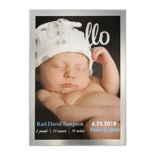Annonce de naissance photo personnalisée Bonjour cadre feuille d'argent, cartes 12,7 x 17,78 cm