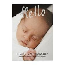 Hello Foil Gold Photo Birth Announcement, 5X7 Cards