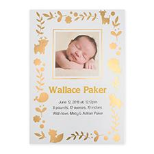 Cartes photo annonce de naissance personnalisées feuille d'or monde animal