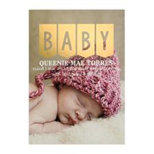 Carte photo d'annonce de naissance personnalisée Bébé feuille d'or