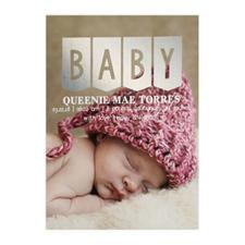 Annonce de naissance photo Bébé feuille d'argent, 12,7 x 17,78 cm
