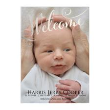 Annonce de naissance photo bienvenue feuille argentée, cartes 12,7 x 17,78 cm