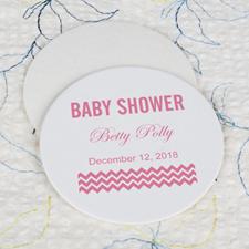 Dessous de verre rond imprimé personnalisé fête prénatale rose