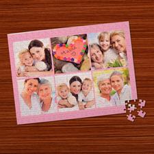Puzzle photo personnalisé  rose clair 6 collage 30,48 x 41,91 cm