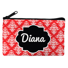Red Vintage Personalized Small Cosmetic Bag (4
