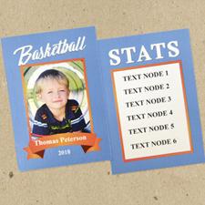 Ensemble de 12 cartes de collection bleues personnalisées basket