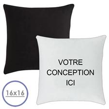 Oreiller conception personnalisée (verso noir) coussin (sans insert) 40,64 x 40,64 cm