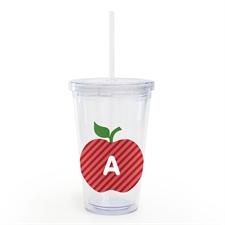Gobelet isotherme enseignant personnalisé pomme rouge personnalisée