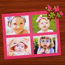 Puzzle personnalisé rose quatre collage