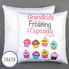 Housse de coussin oreiller personnalisée huit cupcakes 40,64 x 40,64 cm (sans insert)