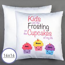 Housse de coussin oreiller personnalisée trois cupcakes 40,64 x 40,64 cm (sans insert)