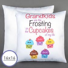 Housse de coussin oreiller personnalisée cinq cupcakes 40,64 x 40,64 cm (sans insert)