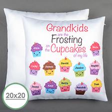 Large housse de coussin oreiller personnalisée douze cupcakes 50,8 x 50,8 cm (sans insert)
