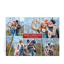 Carte de voeux rouge impression personnalisée collage 4 photos