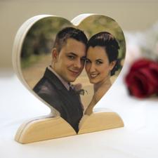 Décor photo coeur en bois personnalisé