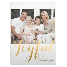 Carte de Noël photo personnalisée feuille d'or joyeux