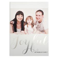 Carte de Noël photo personnalisée feuille d'argent joyeux