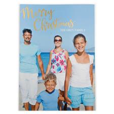 Carte photo personnalisée feuille d'or Joyeux Noël
