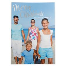 Carte photo personnalisée feuille d'argent Joyeux Noël