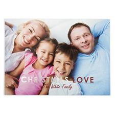 Carte photo personnalisée feuille d'argent amour de Noël