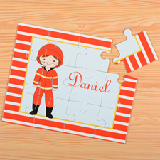 Puzzle pour enfants pompier personnalisé