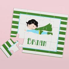 Puzzle pour enfants personnalisé superboy, rayure verte